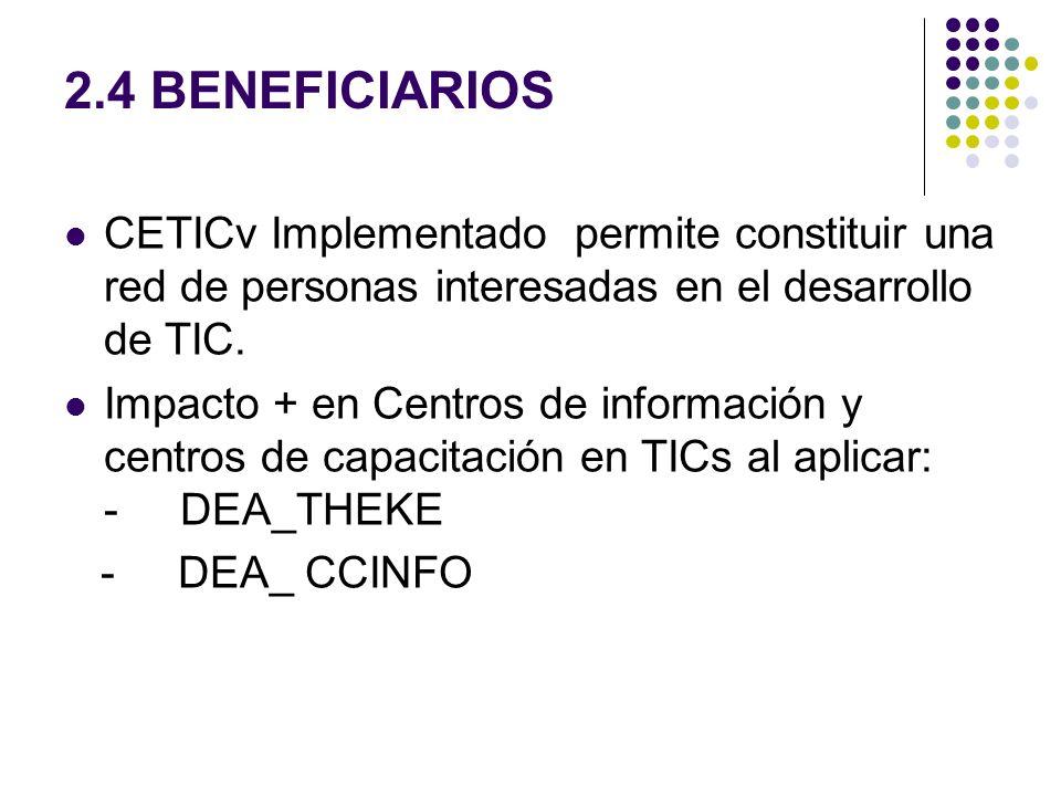 2.4 BENEFICIARIOS CETICv Implementado permite constituir una red de personas interesadas en el desarrollo de TIC. Impacto + en Centros de información