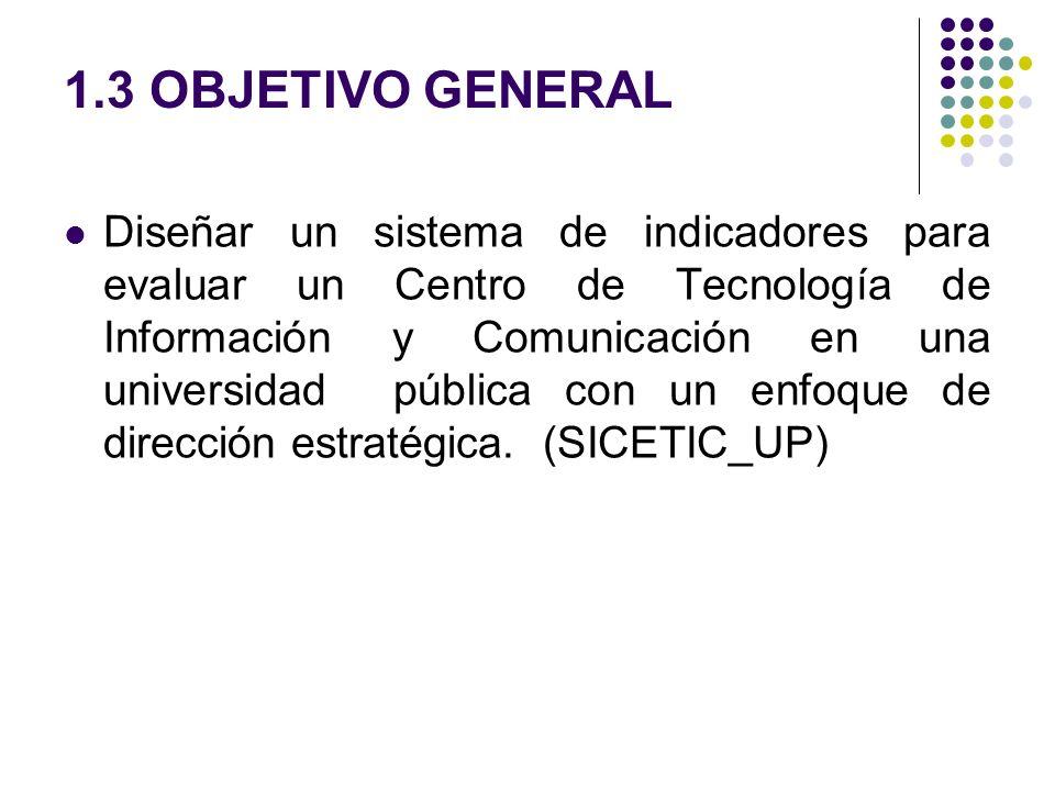 1.3 OBJETIVO GENERAL Diseñar un sistema de indicadores para evaluar un Centro de Tecnología de Información y Comunicación en una universidad pública c