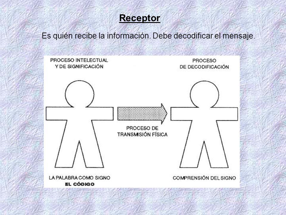 Receptor Es quién recibe la información. Debe decodificar el mensaje.
