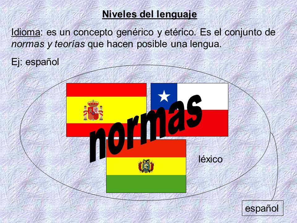 Niveles del lenguaje Idioma: es un concepto genérico y etérico. Es el conjunto de normas y teorías que hacen posible una lengua. Ej: español español l