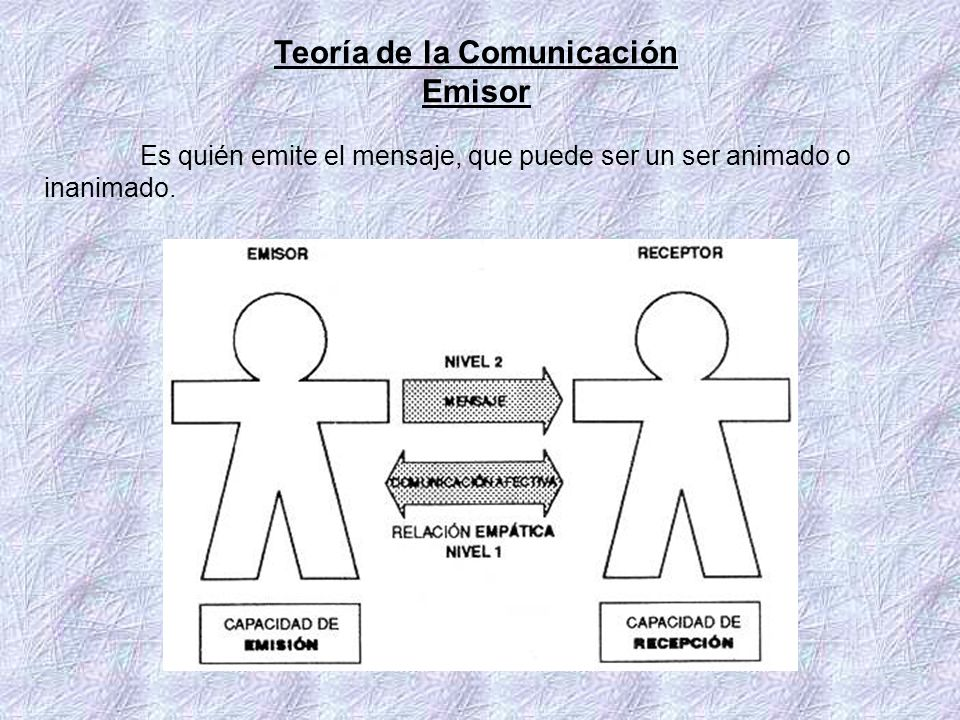 Teoría de la Comunicación Emisor Es quién emite el mensaje, que puede ser un ser animado o inanimado.