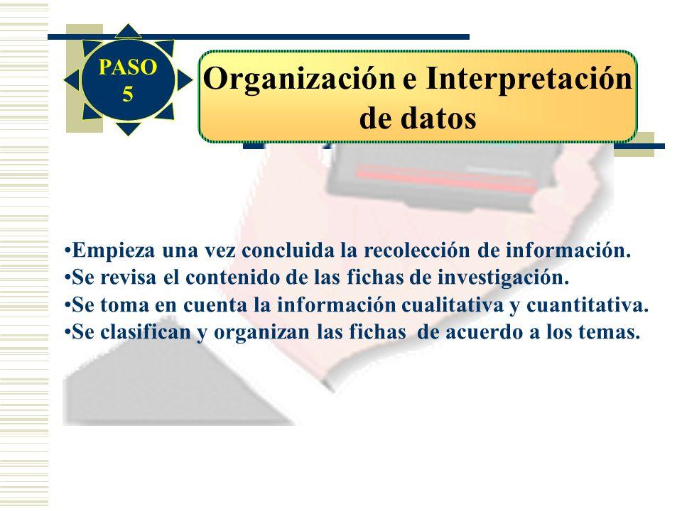 Organización e Interpretación de datos Empieza una vez concluida la recolección de información. Se revisa el contenido de las fichas de investigación.