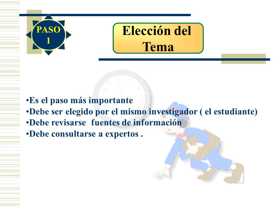 Elección del Tema Es el paso más importante Debe ser elegido por el mismo investigador ( el estudiante) Debe revisarse fuentes de información Debe con