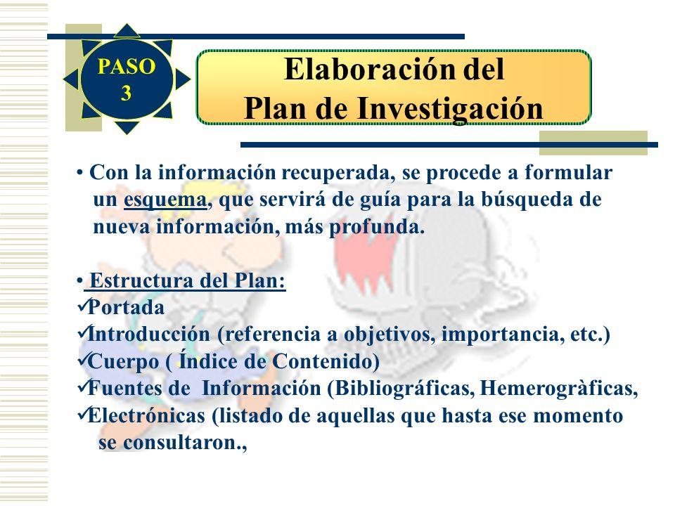 Elaboración del Plan de Investigación Con la información recuperada, se procede a formular un esquema, que servirá de guía para la búsqueda de nueva i