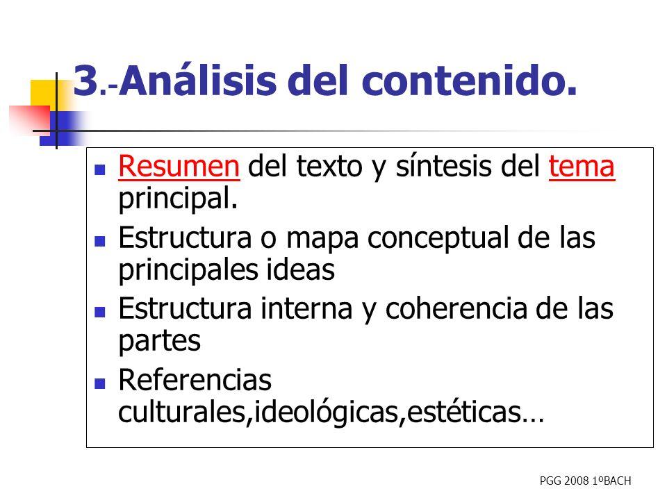 PGG 2008 1ºBACH Resumen del texto y síntesis del tema principal. Resumentema Estructura o mapa conceptual de las principales ideas Estructura interna