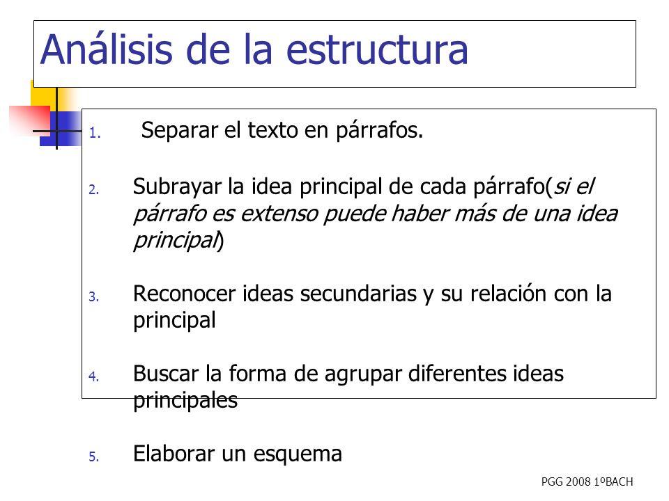 PGG 2008 1ºBACH Análisis de la estructura 1. Separar el texto en párrafos. 2. Subrayar la idea principal de cada párrafo(si el párrafo es extenso pued