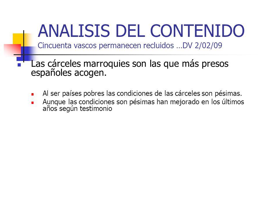 ANALISIS DEL CONTENIDO Cincuenta vascos permanecen recluidos …DV 2/02/09 Las cárceles marroquies son las que más presos españoles acogen. Al ser paíse
