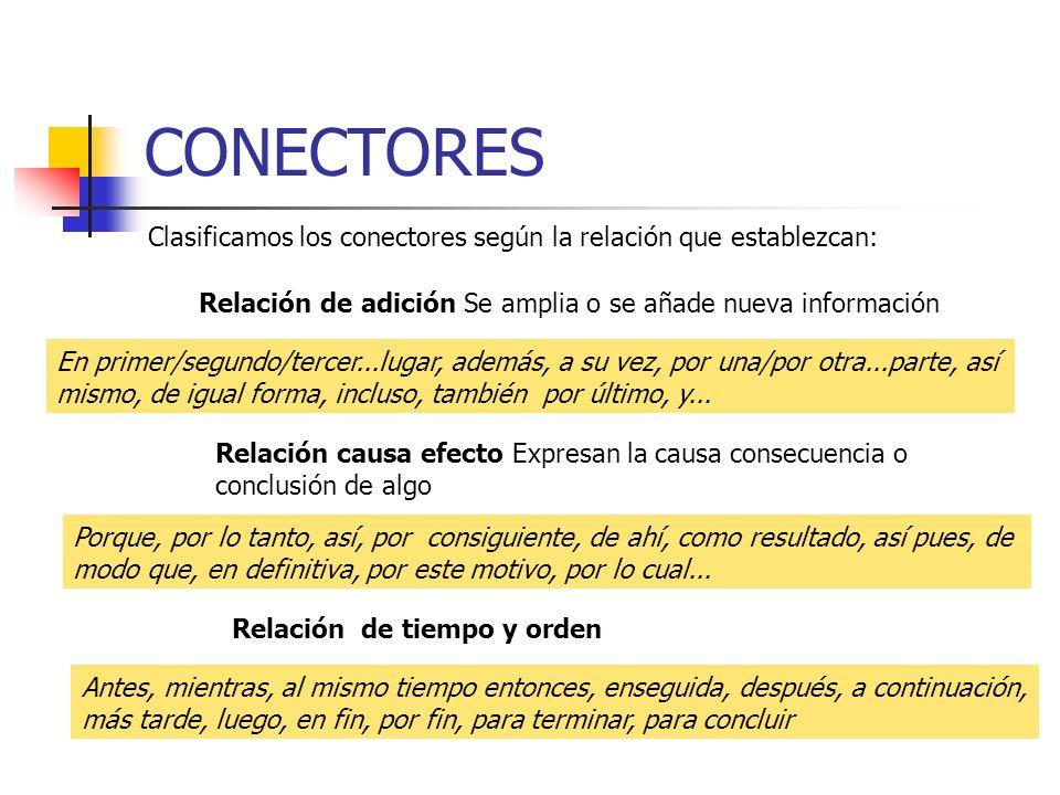 CONECTORES Clasificamos los conectores según la relación que establezcan: Relación de adición Se amplia o se añade nueva información En primer/segundo