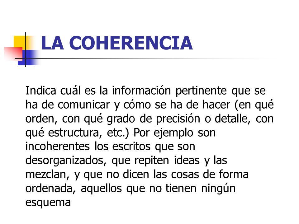 LA COHERENCIA Indica cuál es la información pertinente que se ha de comunicar y cómo se ha de hacer (en qué orden, con qué grado de precisión o detall