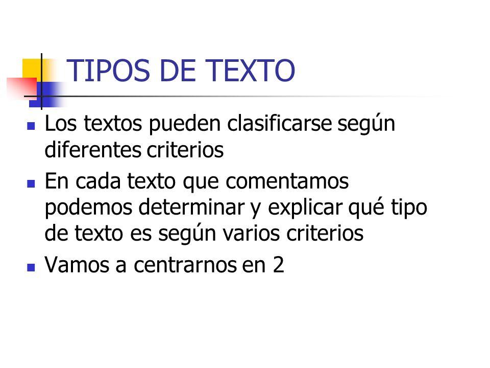 TIPOS DE TEXTO Los textos pueden clasificarse según diferentes criterios En cada texto que comentamos podemos determinar y explicar qué tipo de texto