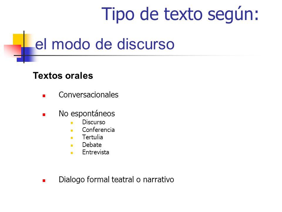 Tipo de texto según: el modo de discurso Textos orales Conversacionales No espontáneos Discurso Conferencia Tertulia Debate Entrevista Dialogo formal