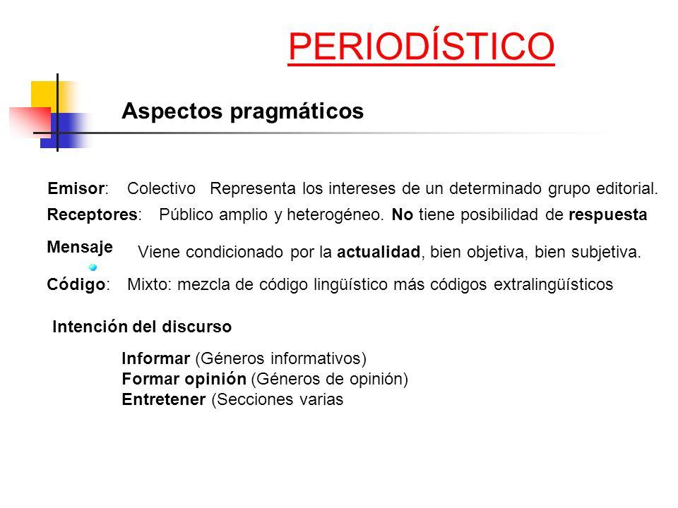 Aspectos pragmáticos Emisor: Receptores: Colectivo Representa los intereses de un determinado grupo editorial. Público amplio y heterogéneo. No tiene