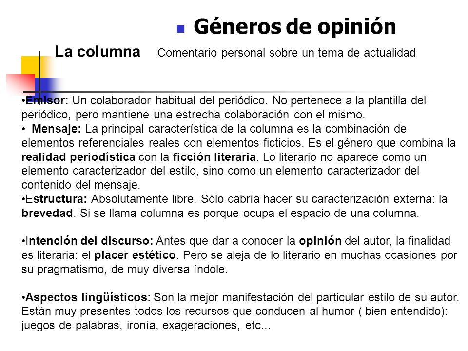 Géneros de opinión La columna Comentario personal sobre un tema de actualidad Características: Emisor: Un colaborador habitual del periódico. No perte