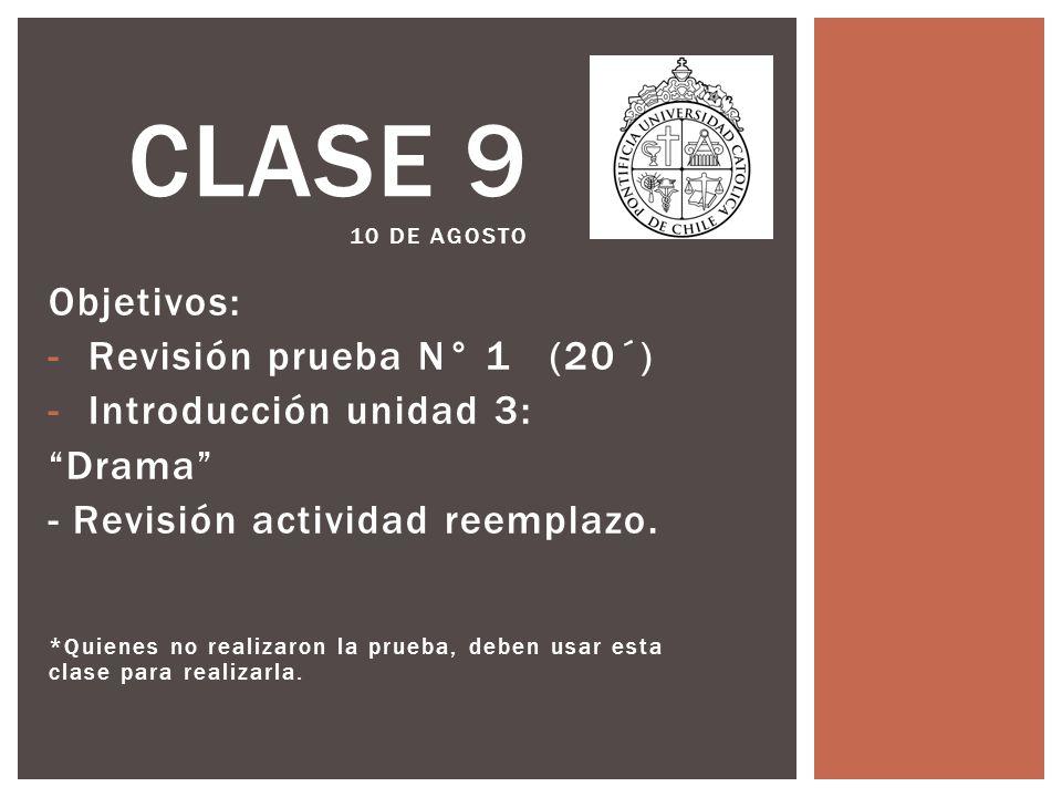 Objetivos: -Revisión prueba N° 1 (20´) -Introducción unidad 3: Drama - Revisión actividad reemplazo.