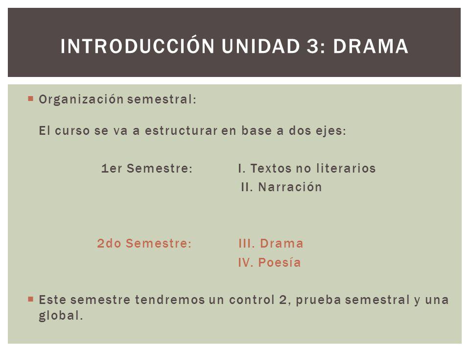 Organización semestral: El curso se va a estructurar en base a dos ejes: 1er Semestre: I. Textos no literarios II. Narración 2do Semestre: III. Drama