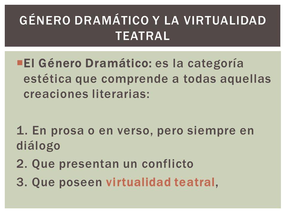 El Género Dramático: es la categoría estética que comprende a todas aquellas creaciones literarias: 1. En prosa o en verso, pero siempre en diálogo 2.