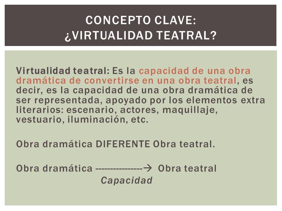Virtualidad teatral: Es la capacidad de una obra dramática de convertirse en una obra teatral, es decir, es la capacidad de una obra dramática de ser representada, apoyado por los elementos extra literarios: escenario, actores, maquillaje, vestuario, iluminación, etc.