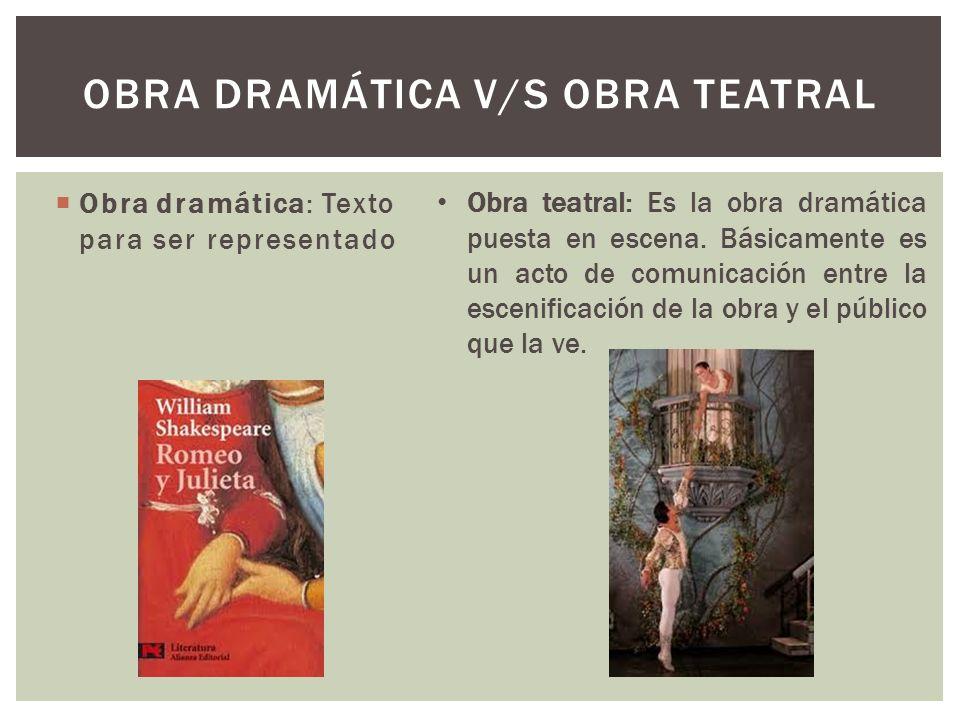 Obra dramática: Texto para ser representado OBRA DRAMÁTICA V/S OBRA TEATRAL Obra teatral: Es la obra dramática puesta en escena. Básicamente es un act