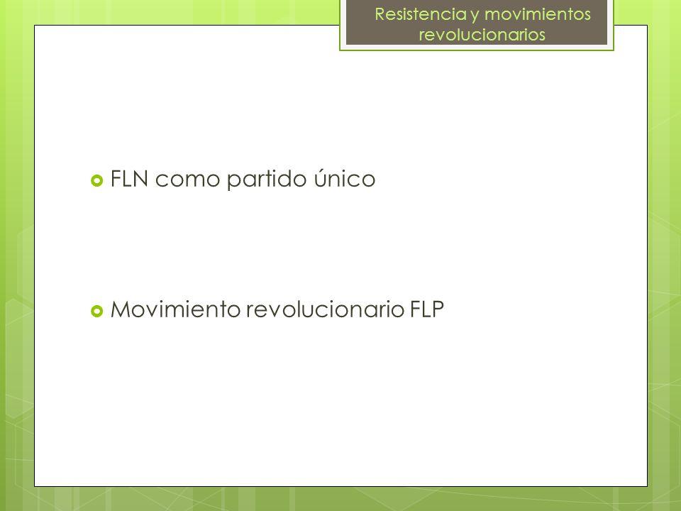 FLN como partido único Movimiento revolucionario FLP Resistencia y movimientos revolucionarios