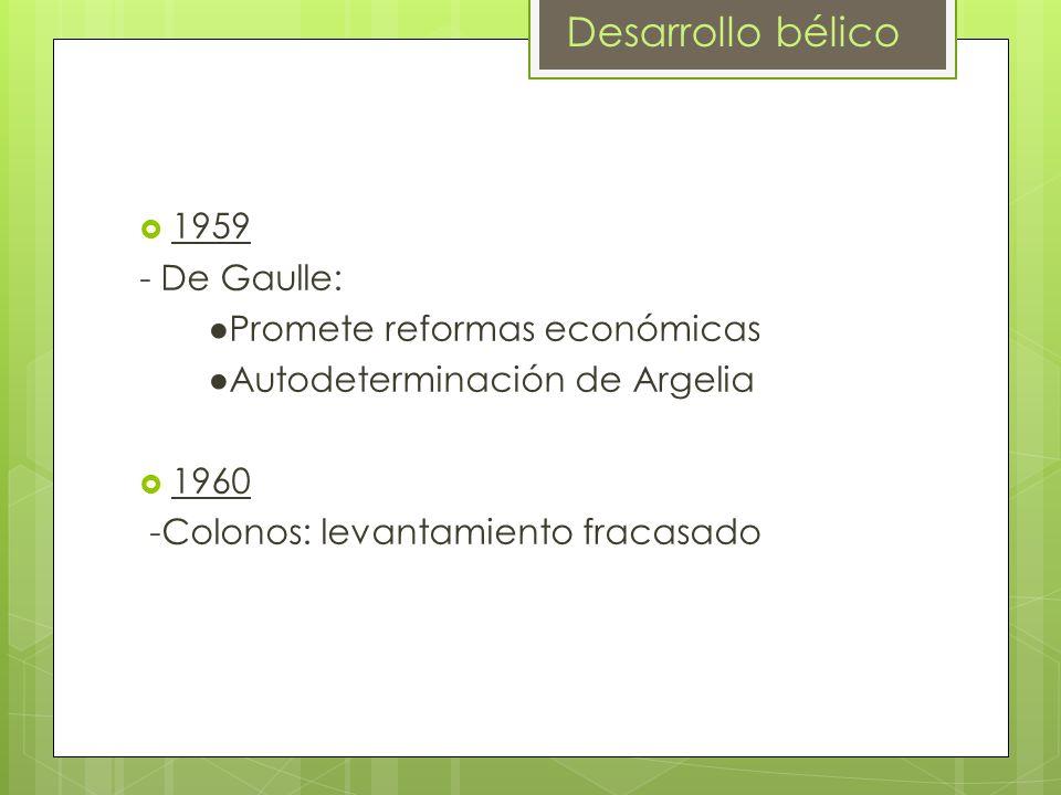 1959 - De Gaulle: Promete reformas económicas Autodeterminación de Argelia 1960 -Colonos: levantamiento fracasado Desarrollo bélico