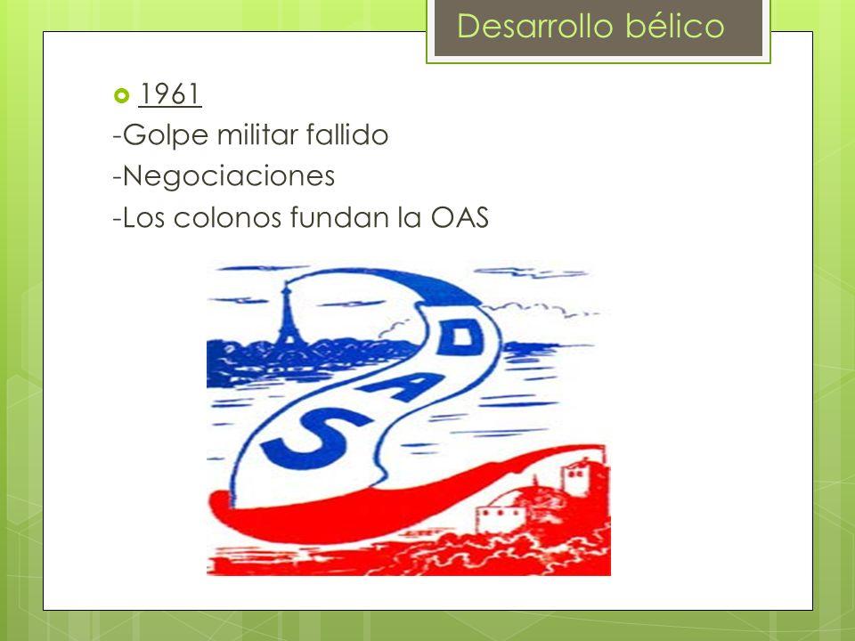 1961 -Golpe militar fallido -Negociaciones -Los colonos fundan la OAS Desarrollo bélico