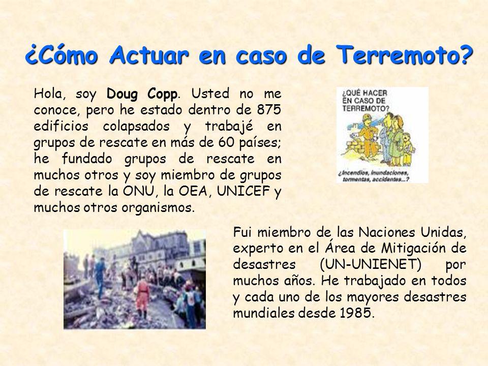 Fui miembro de las Naciones Unidas, experto en el Área de Mitigación de desastres (UN-UNIENET) por muchos años. He trabajado en todos y cada uno de lo