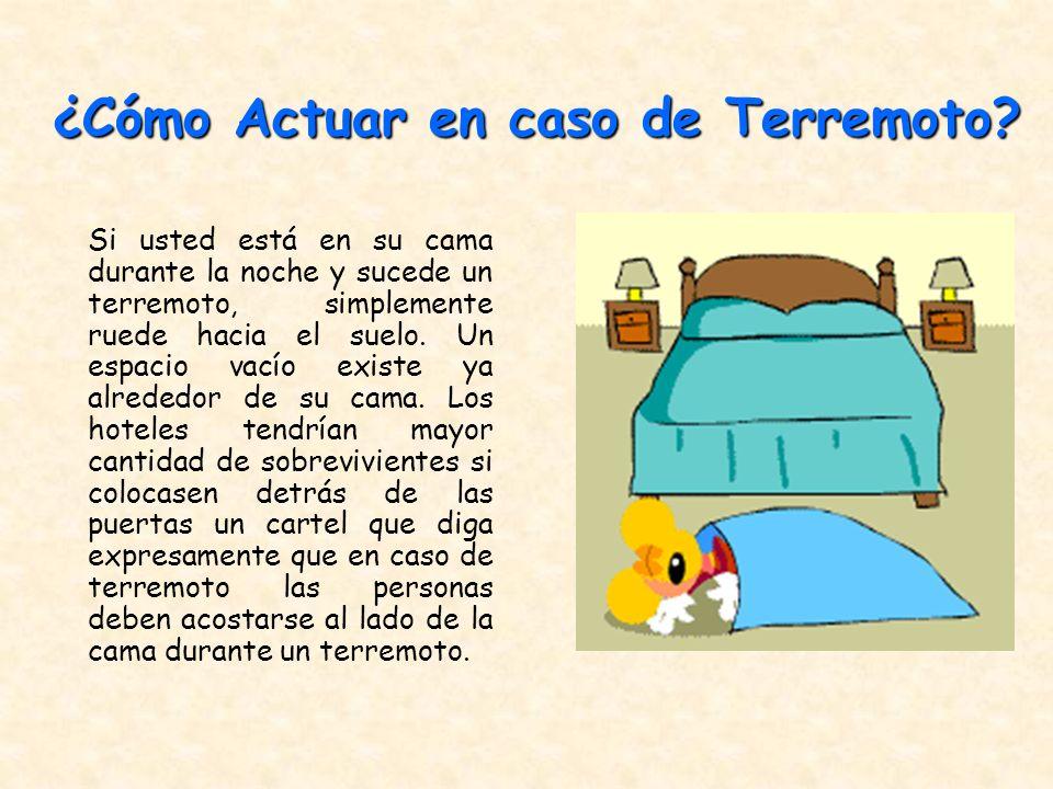 Si usted está en su cama durante la noche y sucede un terremoto, simplemente ruede hacia el suelo. Un espacio vacío existe ya alrededor de su cama. Lo