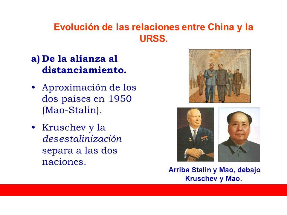 a)De la alianza al distanciamiento. Aproximación de los dos países en 1950 (Mao-Stalin). Kruschev y la desestalinización separa a las dos naciones. Ar