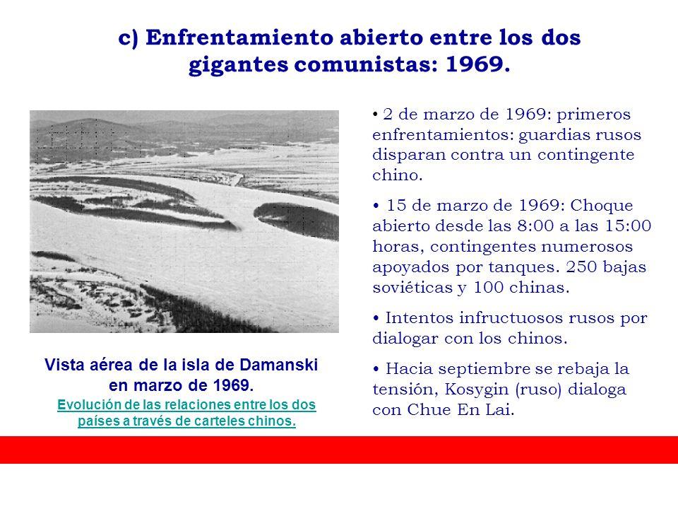 Vista aérea de la isla de Damanski en marzo de 1969. 2 de marzo de 1969: primeros enfrentamientos: guardias rusos disparan contra un contingente chino