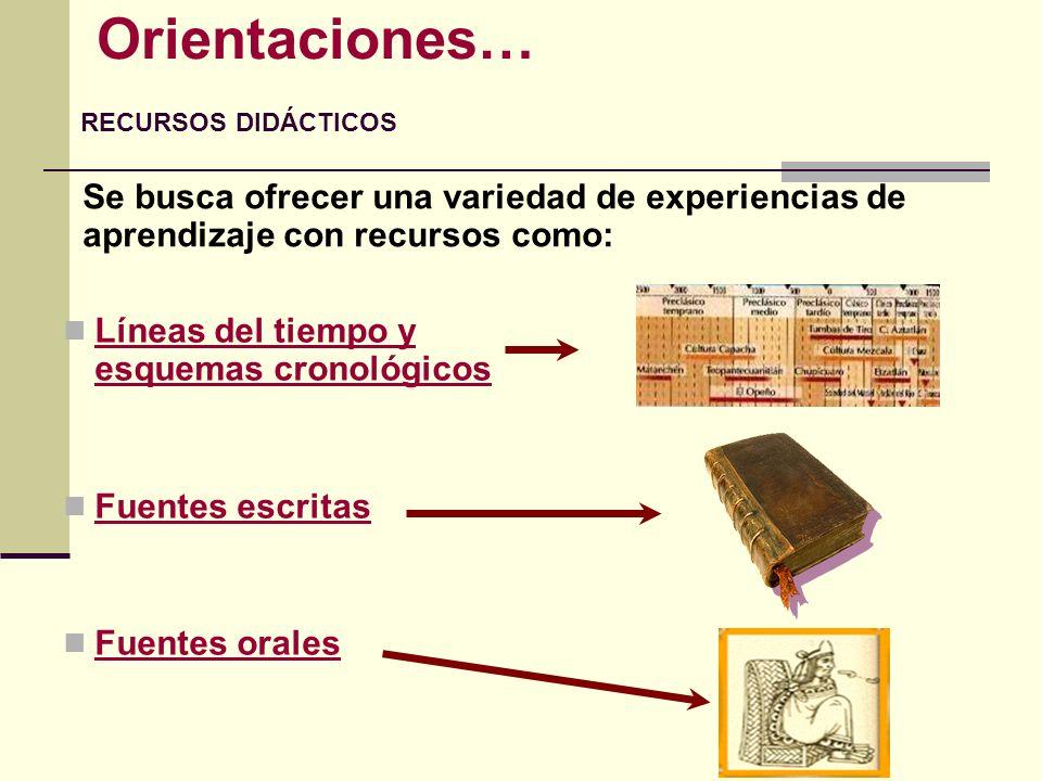 Líneas del tiempo y esquemas cronológicos Fuentes escritas Fuentes orales Orientaciones… RECURSOS DIDÁCTICOS Se busca ofrecer una variedad de experien