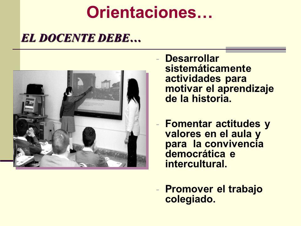 EL DOCENTE DEBE… EL DOCENTE DEBE… - Desarrollar sistemáticamente actividades para motivar el aprendizaje de la historia. - Fomentar actitudes y valore