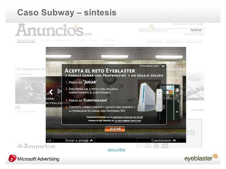 demo offline Caso Subway – síntesis