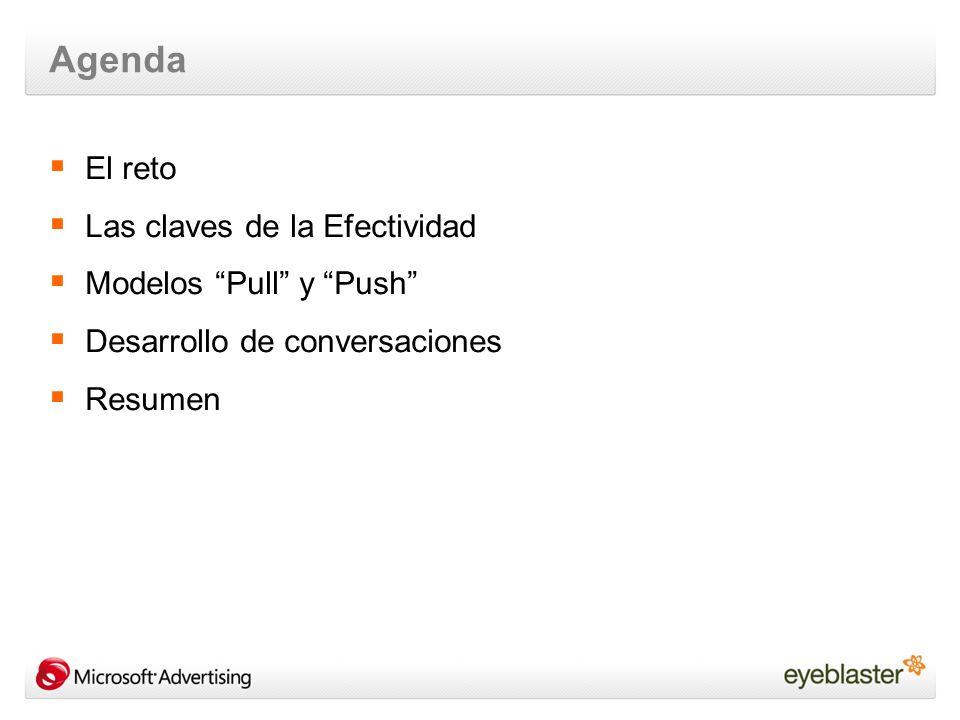 Agenda El reto Las claves de la Efectividad Modelos Pull y Push Desarrollo de conversaciones Resumen