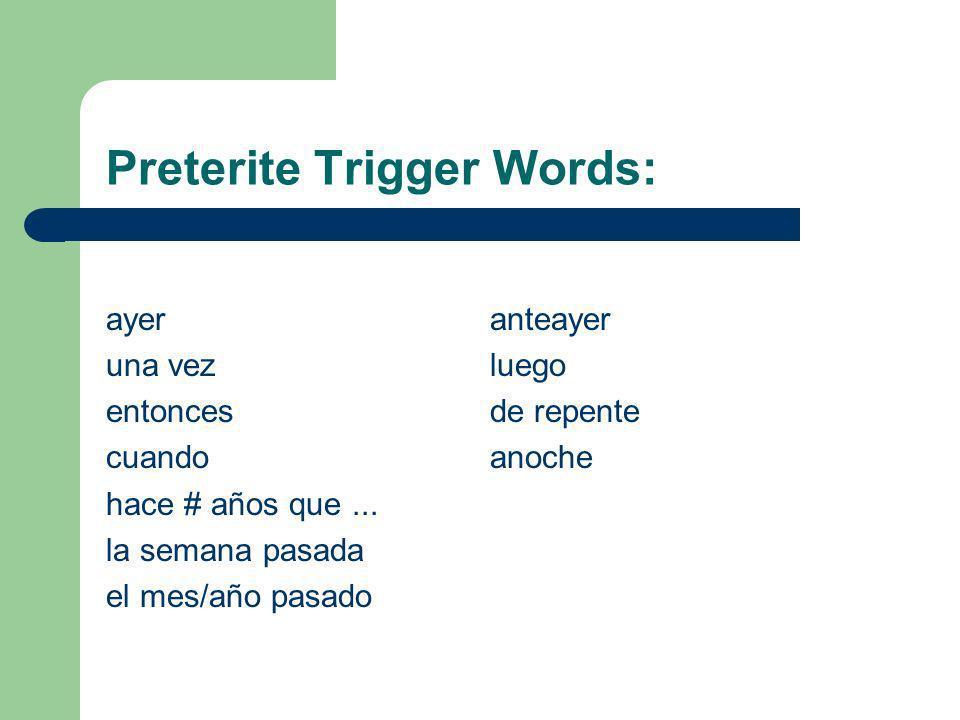 Translation The English Translation for the preterite is: Yo hablé- I spoke