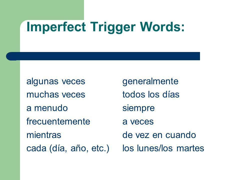 Imperfect Translation The English Translation for the imperfect is: I used to speak Yo hablaba- I was speaking I would speak I spoke