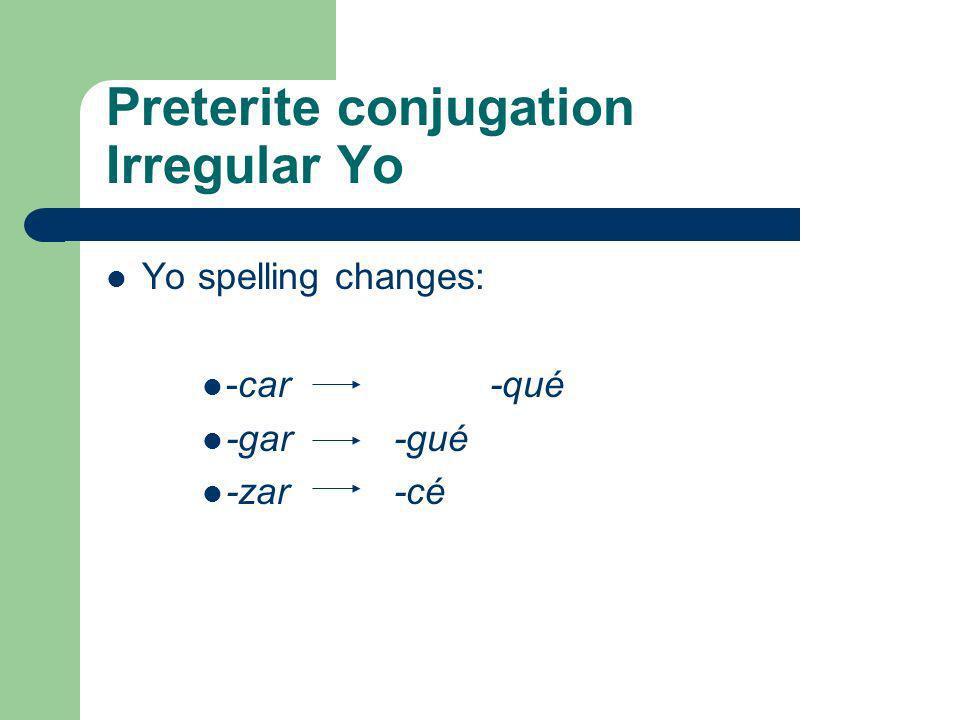 Preterite conjugation Regular Verb Endings: ___-ar__ _ ____-er/-ir___ -é-amos-í-imos -aste-asteis-iste-isteis -ó-aron-ió-ieron
