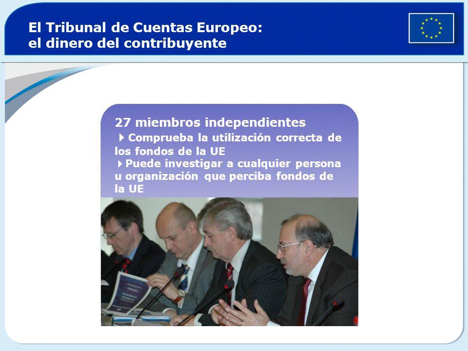 El Tribunal de Cuentas Europeo: el dinero del contribuyente 27 miembros independientes Comprueba la utilización correcta de los fondos de la UE Puede