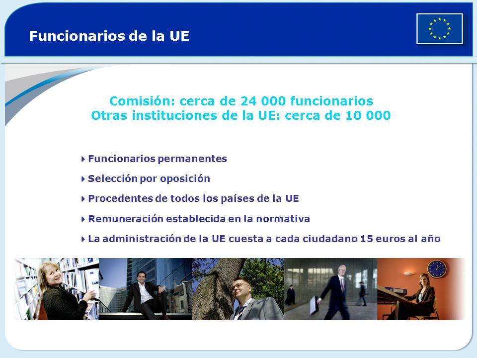 Funcionarios de la UE Comisión: cerca de 24 000 funcionarios Otras instituciones de la UE: cerca de 10 000 Funcionarios permanentes Selección por opos