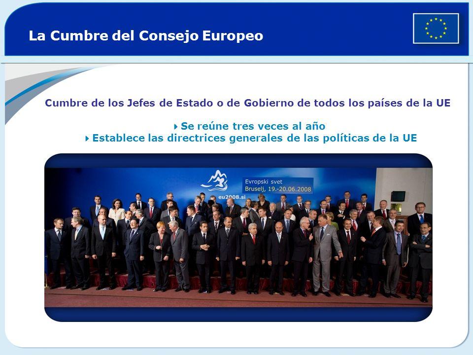 La Cumbre del Consejo Europeo Cumbre de los Jefes de Estado o de Gobierno de todos los países de la UE Se reúne tres veces al año Establece las direct