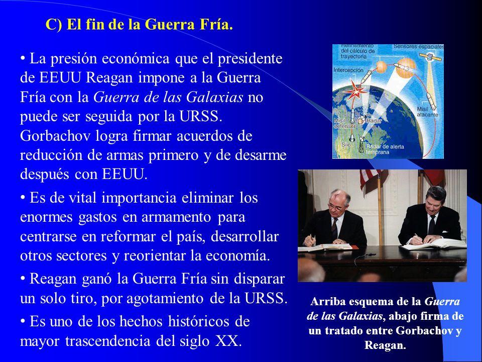 C) El fin de la Guerra Fría. Arriba esquema de la Guerra de las Galaxias, abajo firma de un tratado entre Gorbachov y Reagan. La presión económica que