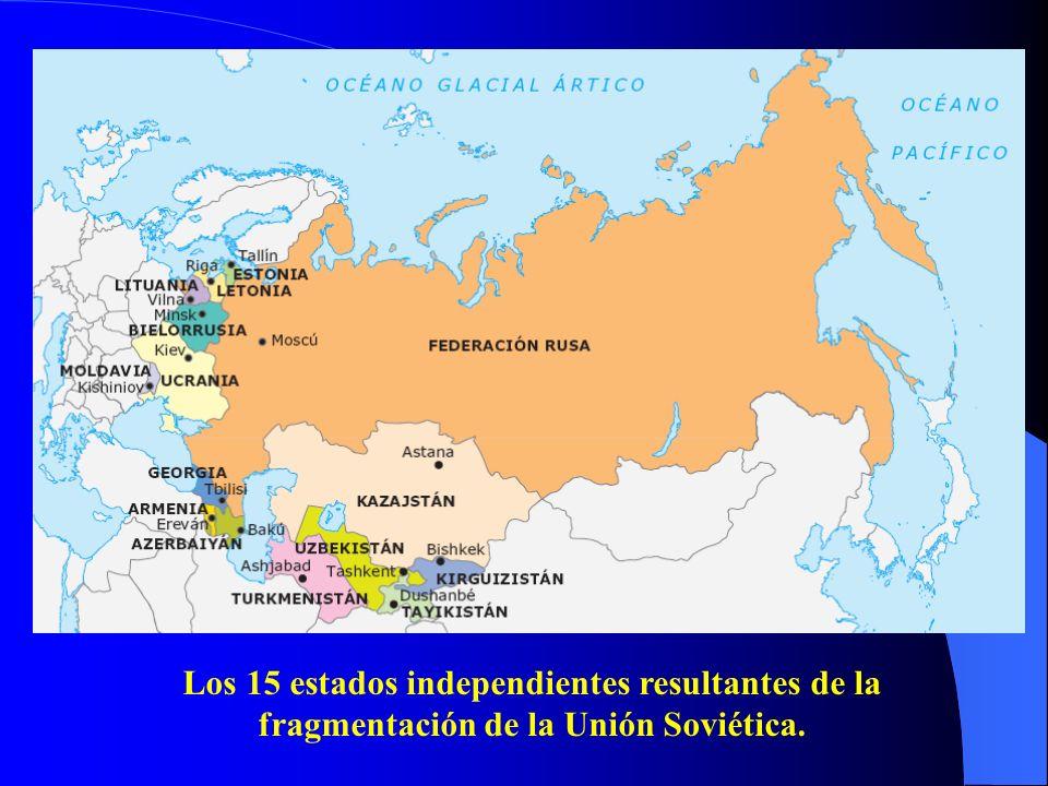 Los 15 estados independientes resultantes de la fragmentación de la Unión Soviética.