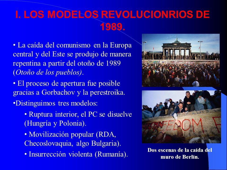 I. LOS MODELOS REVOLUCIONRIOS DE 1989. La caída del comunismo en la Europa central y del Este se produjo de manera repentina a partir del otoño de 198