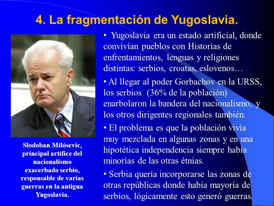 4. La fragmentación de Yugoslavia. Yugoslavia era un estado artificial, donde convivían pueblos con Historias de enfrentamientos, lenguas y religiones
