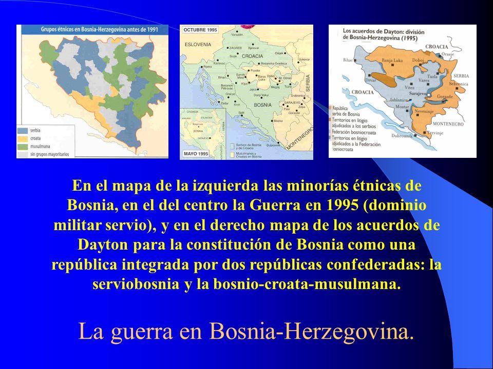 La guerra en Bosnia-Herzegovina. En el mapa de la izquierda las minorías étnicas de Bosnia, en el del centro la Guerra en 1995 (dominio militar servio