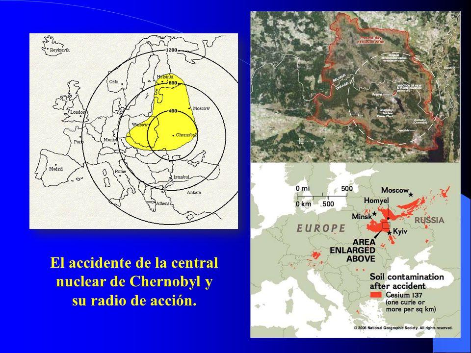 El accidente de la central nuclear de Chernobyl y su radio de acción.