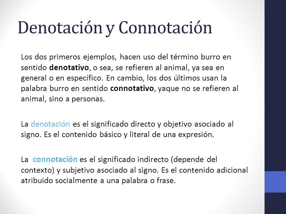 Denotación y Connotación Los dos primeros ejemplos, hacen uso del término burro en sentido denotativo, o sea, se refieren al animal, ya sea en general