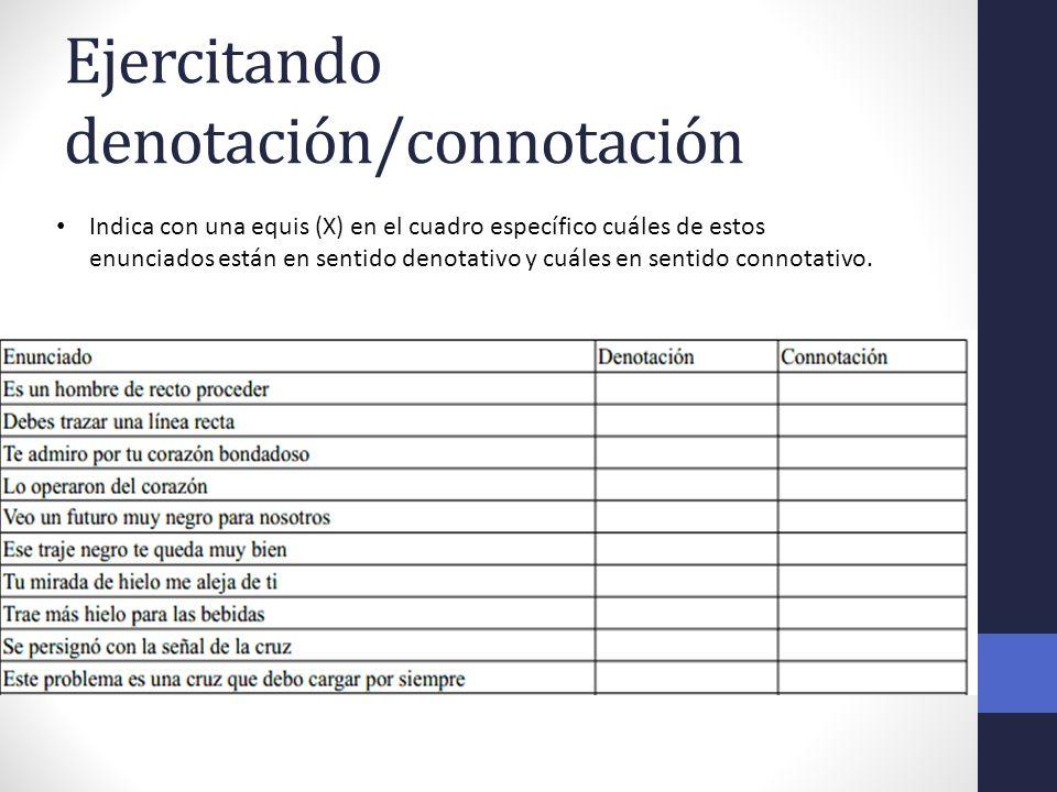 Ejercitando denotación/connotación ¿Cuál es el significado denotativo y connotativo de las siguientes expresiones.