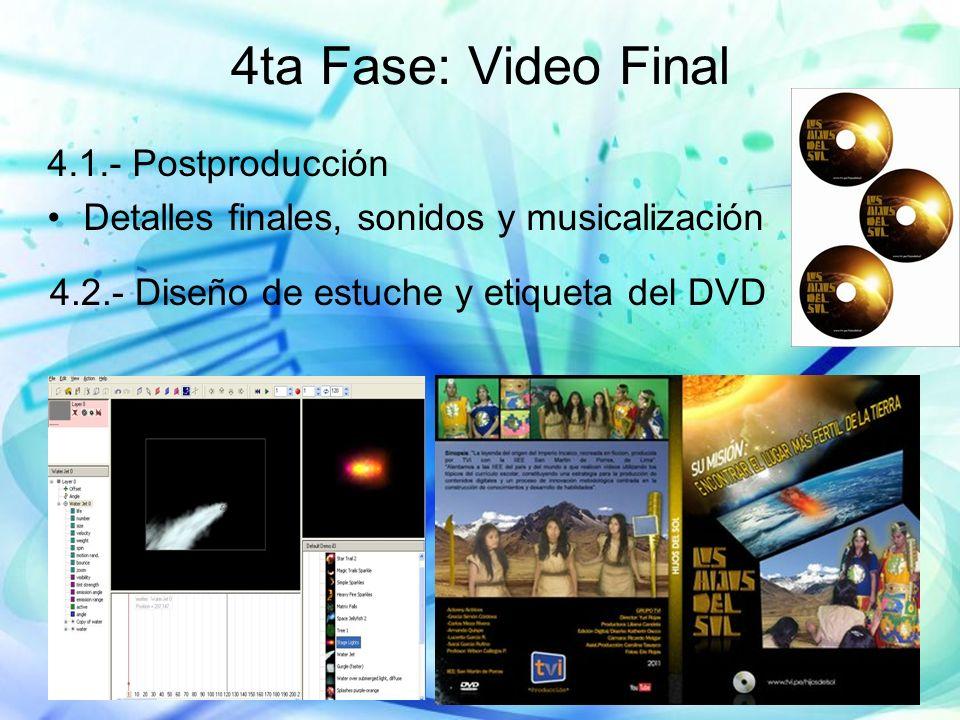 4ta Fase: Video Final 4.1.- Postproducción Detalles finales, sonidos y musicalización 4.2.- Diseño de estuche y etiqueta del DVD