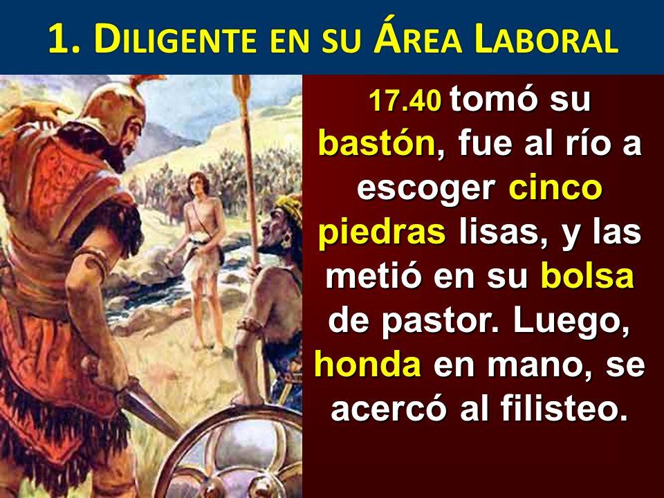 17.49 Metiendo la mano en su bolsa sacó una piedra, y con la honda se la lanzó al filisteo, hiriéndolo en la frente.