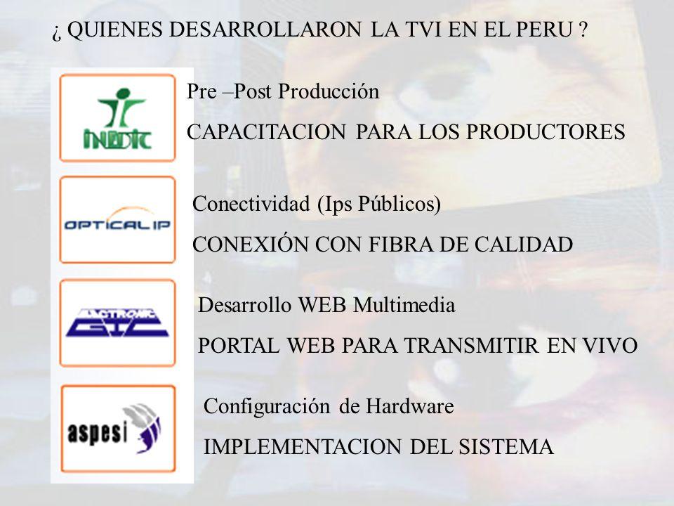 Pre –Post Producción CAPACITACION PARA LOS PRODUCTORES Conectividad (Ips Públicos) CONEXIÓN CON FIBRA DE CALIDAD Desarrollo WEB Multimedia PORTAL WEB